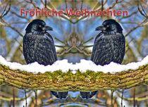 Weihnachtspostkarte Raben Doppelgänger von kattobello