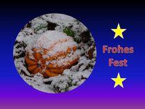 Weihnachtspostkarte Kürbis im Schnee by kattobello