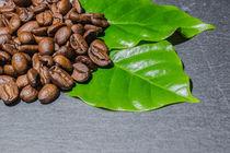 Kaffeebohnen mit Kaffeeblätter von Mathias Karner
