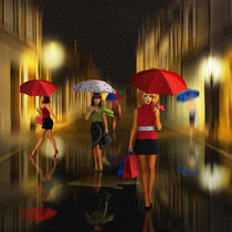 Ladies Shopping Rainy Night  by Monika Juengling