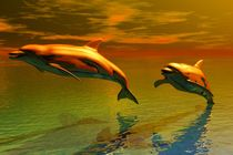 dolphins before sunset von kunstmarketing