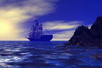 sailing ship in the blue von kunstmarketing