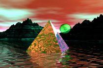 mystic pyramid with green moon von kunstmarketing