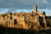 Pitigliano sunset winter view by bruno paolo benedetti