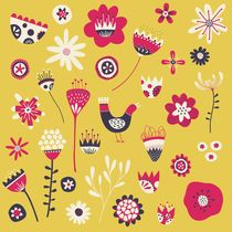 Scandi Birds and Flowers Yellow von Nic Squirrell