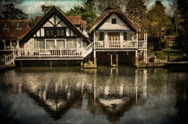 Boathouses at Goring on Thames by Ian Lewis