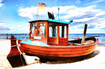 Fischerboot am Ostseestrand - Fishing boat on the Baltic Sea beach von Thomas Klee