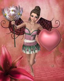 Elfe mit Blume und Herz von Conny Dambach