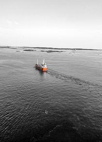 Küste, Möve, Schiff und das Meer von werkraum78