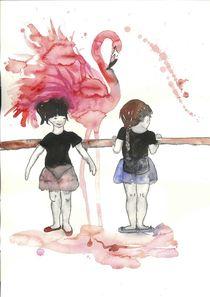 Ballerina und Flamingo by Maria Fetsch