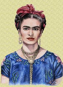 Frida Kahlo vor goldgelbem Hintergrund von Nicole Zeug