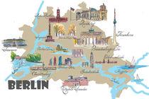 Berlin Karte mit touristischen Top Ten Highlights by M.  Bleichner