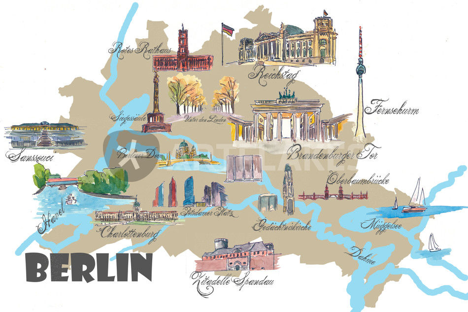 Berlin Karte Mit Touristischen Top Ten Highlights Mixed Media Als