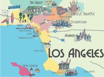 Los Angeles California Retro Map by M.  Bleichner