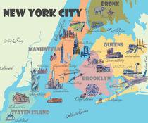 Greater New York  Retro Vintage Karte mit touristischen Highlights von M.  Bleichner