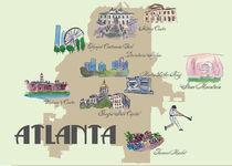 Atlanta Georgia Retro Map von M.  Bleichner