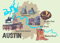 Austin Texas Retro Map by M.  Bleichner