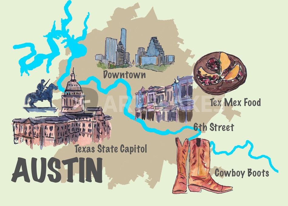Austin Texas Retro Map
