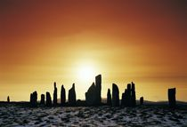 Winter sunset over Callanish. B&W by David Lyons