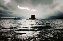 Storm weather. Castle Stalker on Loch Linnhe by David Lyons