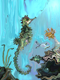 Seepferdchen und Austernperle, digitale Malerei, seahorse and pearl, digital artwork by Dagmar Laimgruber