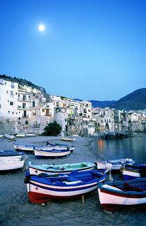 The fishing harbour of Cefalu, Sicily by David Lyons