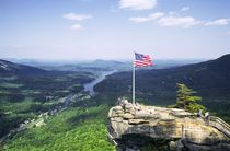 Union Flag on Chimney Rock. Lake Lure by David Lyons