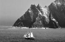 Asgard II between the Skelligs. B&W by David Lyons