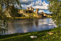 Late Afternoon At Caerphilly Castle by Ian Lewis