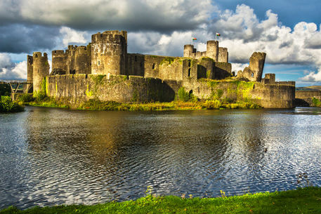 Caerphilly-castle-over-the-moat