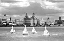 Liverpool waterfront on the River Mersey. B&W von David Lyons