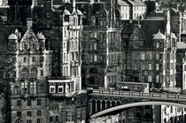The Old Town from Calton Hill, Edinburgh. B&W by David Lyons