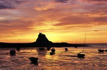 Lindisfarne sunrise and Holy Island Castle by David Lyons