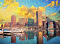 Baltimore Maryland Skyline by olaartprints