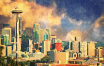 Seattle Skyline by olaartprints