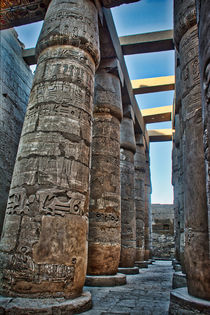 Hieroglyphic Pillars at Karnat Temple Luxor Egypt von Andy Doyle