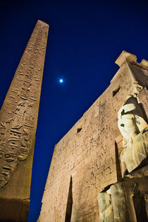 Luxor Temple with Moon at Dusk by Andy Doyle