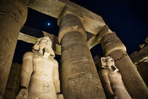 Luxor Temple with Moon at Night by Andy Doyle