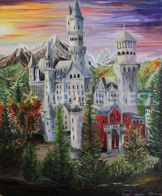 Schloss Neuschwanstein Malerei Als Poster Und Kunstdruck Von Yana Kott Bestellen Artflakes Com