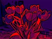 Blumen Poster Tulpen blau-rot - WelikeFlowers by Robert H. Biedermann