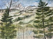 Mountain winter landscape painting by Derek McCrea