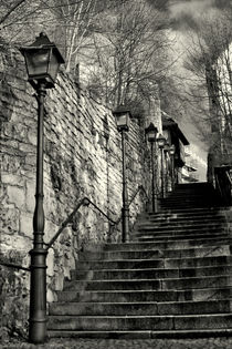 Stairs and lanterns in historic center of Nordhausen, Germany. Urban life. by salogwynpictureart