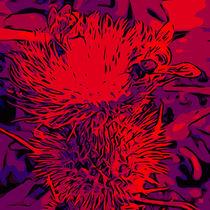 Red thistle with bee von Robert H. Biedermann