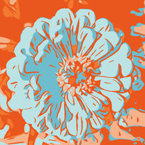 Blume orange im Quadrat_2 von Robert H. Biedermann