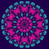 dark, powerful mandala arabesque with elephants von Ruby Lindholm