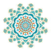 Mandala turquoise orange rusty red by Ruby Lindholm