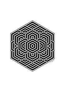 Geometric Hexagon Design Black And White von Maggie B. Design