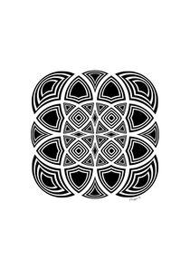 Geometric Fractal Design - Black And White  by Maggie B. Design