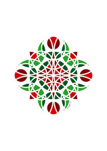 Geometric Floral Ornament Green And Orange  von Maggie B. Design