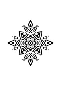 Geometric Abstract Floral Ornament - Black And White von Maggie B. Design